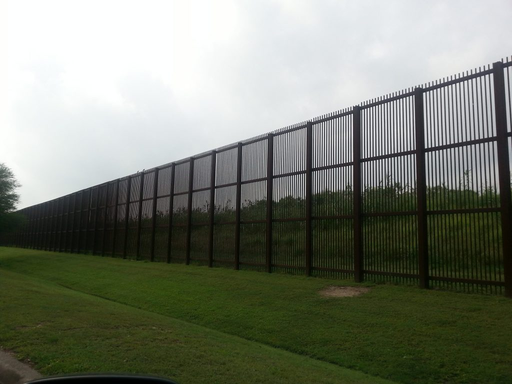 Part of the border fence separating the US from Mexico