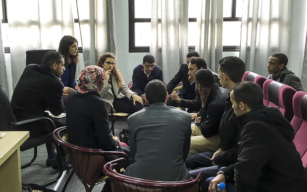 Students round table